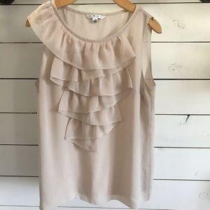 Cabi ruffle front cream blouse